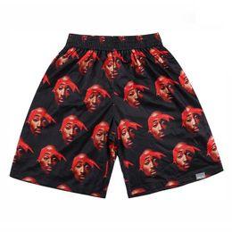 FG1509 [Mikeal] pantalones cortos de hip hop hombres impresión 3d cantante de rap 2PAC Tupac pantalones cortos de baloncesto deportivos malla transpirable pantalones cortos blanco / negro / rojo desde fabricantes