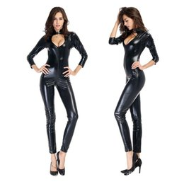 Wholesale Sexy Black Burst - Pole Dance Jumpsuits Elastic Black Sexy Bodysuit Women Skinny Cub Shows Faux Leather Costumes Lady Zipper Burst Milk Sex Woman's Gift