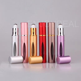 Wholesale Essential Homes - Refillable AMBER 10ml MINI ROLL ON Aluminum BOTTLES ESSENTIAL OIL Steel Metal Roller ball fragrance PERFUME Home Fragrances Oils Diffusers