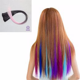 Wholesale Colour Hair Highlights - Fashion One Piece 20Inch Colorful Clip-In On Hair Extensions Highlight Rock 2Clips Pink Smoke Ombre Colour Synthetic HairPiece