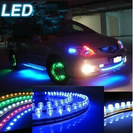 Wholesale Led Light Strips Cars - 10 Piece Car Truck LED Strip Lights Light DIY flexible PVC White Yellow Green Red Blue 24cm 24LED 48cm 48LEDs 72CM 72 LED 96CM 96 LEDs 120CM