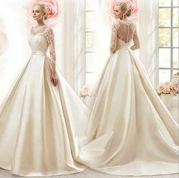 Wholesale Vintage Slim Line Wedding Dresses - Vintage White Satin Tulle Slim Cut Wedding Dress 2017 Long Sleeve Sweep Train A-Line Wedding Bridal Gown Appliques Occasion Dresses