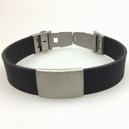 Bracelets unisexes personnalisés en Ligne-Informations personnelles personnalisées gravure laser sport style unisexe adulte anti-rouille silicone acier inoxydable ID bracelet
