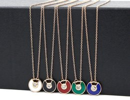 Wholesale Plant Powder - New saucer fan-shaped semi-open color diamond imported powder shell color black necklace female fashion titanium steel rose gold necklace