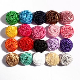 Wholesale Vintage Girls Shoes - Vintage Ribbon 3D Rose Bud Camellia Flowers Fit DIY KIDS Headband Hairclips Shoes Brooch Ornament Baby Girl Clothing Hair Accessories
