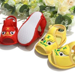 Wholesale Sandal Outsole - Wholesale-free shipping! Tiger male sandals baby shoes soft outsole skidproof 100% cotton toddler shoes baby shoes