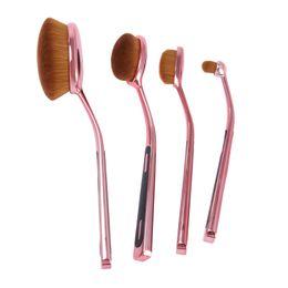 Wholesale Gold Toothbrush - Konmison Professional Oval Brushes Kit Rose Gold Toothbrush Oval Makeup Brush Set Flawless Base Powder Eyebrow Pincel Maquiagem