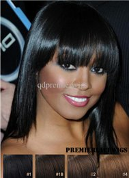 Wholesale Indain Lace - Brazilain Virgin Remy human hair Super Soft as Indain Hair Celebrity Machine silk base circle or front lace wig with bangs for black women