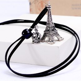 Wholesale Eiffel Tower Sweaters - Korean Winter Long Section Of The Eiffel Tower Crown Retro Leather Cord Necklace Sweater Chain choker necklace joyeria Free Ship
