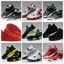 Wholesale Pure White Shoes - High Quality Retro 4 Basketball Shoes Men Women 4s Pure Money Royalty White Cement Bred Military Blue Sports Sneakers With Shoes Box