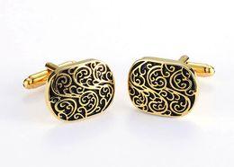 Wholesale Retro Cufflinks - Gold Retro carved cufflinks for mens copper cufflink wedding Cuff Link best gift for men Fashion Jewelry wish_team W751