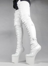 Wholesale Red Leather Over Knee Boots - Wonderheel HOT women fashion boots leather White PU thigh high boots appr. 20cm heelless buckles patent shiny crotch boots