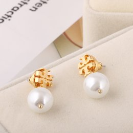 Wholesale Color Stud Earrings - Top brass material Brand name Pearl beads 1.1cm stud Earring women jewelry gift White Grey color free shipping PS6634