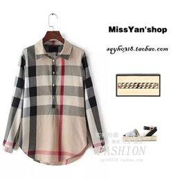Wholesale Korean Shirt Shop - Foreign end of a single genuine original single-Wei Huo cut standard women's autumn Korean Shopping checkered shirt shirt lapel hedging