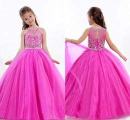 Wholesale Small Pageant Dresses - Latest crepe small round collar beauty pageant dresses have nail bead sleeveless dress floor length pageant