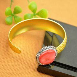 Wholesale Brass Coral Bracelets - Fashion ~ 5pcs Gold Plated Rhinestone Crystal Bangles , Druzy Coral Charms Bangle Bracelets Jewelry Finding