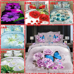 Wholesale Cheap 3d Quilts - High Quality Home Texiles 3d Animal Floral Bedding Sets Queen Size 4pcs Bedclothes Duvet Quilt Cover Sheet Bed Spreads Cotton Cheap Sale