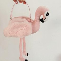 Wholesale Handbag Japan Wholesale - Japan Style Flamingo Handbag INS Plush Flamingo Coin Purse Cartoon Kids Flamingo Shoulder Bags Stuffed Home Decor Toys CCA8173 10pcs