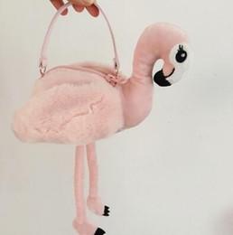 Wholesale Flamingo Handbags - Japan Style Flamingo Handbag INS Plush Flamingo Coin Purse Cartoon Kids Flamingo Shoulder Bags Stuffed Home Decor Toys CCA8173 10pcs