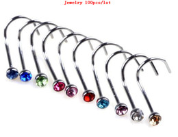Wholesale Nose Ring Piercing Nostril - Wholesale Gem Nose Rings Mixed Colors Nostril Nose Ring Screw Studs Body Piercing Jewelry 100pcs lot