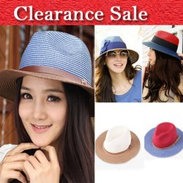 Wholesale Blue Straw Cowboy Hats - Wholesale-Ship from US 2015 New Arrival Fashion beach sun straw hat Cowboy hats for women FREE SHIPPING 5 colors