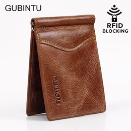 Wholesale Mens Rfid Wallets - Mens Rfid Blocking Genuine Leather Wallet With Money Clip For Men
