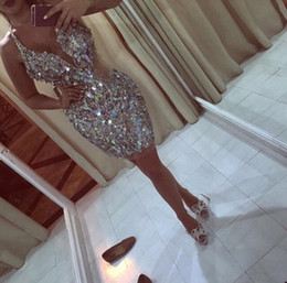 Wholesale Real Image Beaded Mini Dress - Short Prom Dresses 2016 Cocktail Dresses Sexy Christmas Party Dresses Deep V Neck Side Cut Out Sheath Sequined Pageant Dresses with Crystals