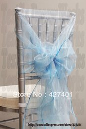 Wholesale Wholesale Chair Hood Ties - Wholesale-Hot Sale Aqua Blue Snow Organza Chair Hoods   Chair Caps   Wrap Tie Back   Chair Sash For Wedding Event&Party&Banquet