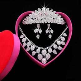 Wholesale Evening Earrings Crystal - Cheap Wedding Bridal Jewelry Set Earring Necklace And Crown Bling Beads Crystal Free Shipping In Stock Girl Evening Prom Jewelry SHJ