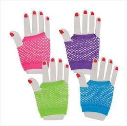 Wholesale Hot Fishnet Dresses - hot sale Neon Short Fishnet Gloves Fish Net Black Fancy Dress Party Dance Club Nylon+Spandex Mesh Short Gloves free shipping