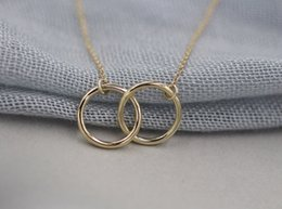 Wholesale Interlocked Necklace - 10pc 2015 Gold and Silver Infinity Double Rings Necklace for Girls Interlocking Circles Pendant Necklace XL184