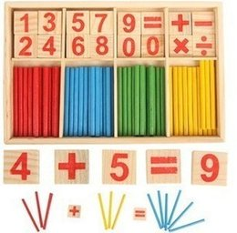 Wholesale Toys Wood Building Sticks - Baby Toys Wooden Intelligence Stick Education Wooden Toys Building Blocks Montessori Mathematical Gift Wholesale