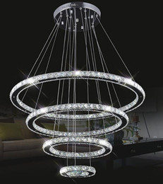 Wholesale dinning room crystal chandelier - Large Modern LED Chandeliers K9 Crystal suspension Fixtures For living dinning room 4 Diamond Ring lustre Lighting Circle Lamp LLFA
