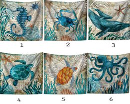 Wholesale Couch Blankets - Sogala Tapestry Wall Hanging Paintings Art Ocean Themes Printed Animals Home Decoration Wall Hanging Tapesties Sofa Couch Blanket 150x200cm