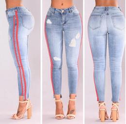 Wholesale Denim Women Casual Fashion Wear - High Waist Stretch Jeans Women's Denim Pants Fashion Side Ribbon Jeans for Lady's Wear Casual Skinny Jeans Sexy Slim Trousers