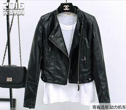 Wholesale Leather Cuff Zippers - 2016 spring new Fashion Slim women's jacket PU women's motorcycle jacket Stand collar Zipper cuffs women Short coat black Biker Jacket