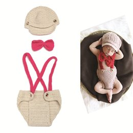 Wholesale Gentleman Photo - Crochet Baby Hat Diaper Set Crochet Boy Gentleman Set Baby Knitted Photo Photography Props 0-12M 1set Free Shipping MZS-14033