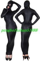 Saco de corpo spandex preto on-line-New Black Lycra Spandex Sacos Do Corpo Terno Trajes Saco de Dormir Outfit Com Os Olhos Abertos Boca Aberta Halloween Fantasia Vestido Cosplay Terno P022