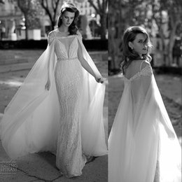 Wholesale Evening Bolero Shrugs - New berta Bridal Jacket Cape Chiffon Custom Made Wedding Shawls For Brides Beaded Evening Bolero Shrug Cloak 2016 Custom Made