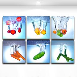 Wholesale Fruit Art Prints - 6 Panels Creactive Fruit And Vegetable Combination Art Modern Wall Oil Painting Printed On Canvas For Bedroom Living Room Home Decoration