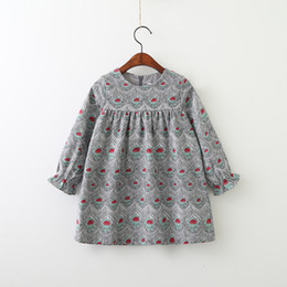 Wholesale Girls Peacock Dress - Kids Dress Autumn Winter Dresses Girl Princess Long Sleeve Peacock Feathers Dresses Kids Floral Clothing 5 Pcs Lot