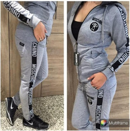Wholesale New Sport Hoodies - 2017 New Women's Letter Printed Sports Set 2-Piece Brand Sweatshirts Hoodies Sportswear Sweatshirts Women's Clothing Tracksuits