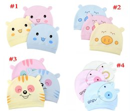 Wholesale Cartoon Crochet Infant Animal Hat - Ins Infant 100% Cotton Caps Baby Cotton hats Cartoon Animals Printed hats Soft Fabric Beanie for Newborn babies 4 style FREE