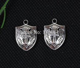 Wholesale Crosses Pendants For Bracelets - Vintage Silver Romantic Alloy Cross Shield Floating Locket Charms Pendants For Jewelry Making Findings Bracelets Handmade 100PCS A258