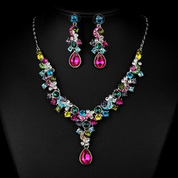 Wholesale Pretty Necklaces - Free Shipping fashion new 2016 Pretty Statement Jewelry Sets Rhinestone 18k Gold Plated collar Necklace Earring Fashion Jewelry XT-3619