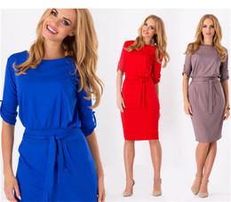 Wholesale Wholesale Peplum Belts - 2016 Fashion Belt Women Casual Dresses 1 2 Sleeve Slim Dress Ladies Knee-Length Pencil Dresses More Color
