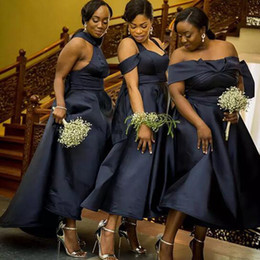 Wholesale White Cold Shoulder Dress - 2017 African Dark Navy Satin Three Styles Tea Length Bridesmaid Dresses Cheap Halter Cold Shoulder Off Shoulder Maid Of Honor Gowns EN110314