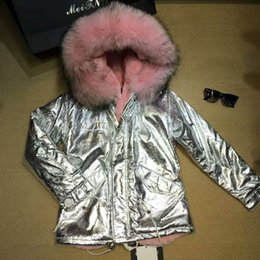 Wholesale Hooded Genuine Rabbit Fur Coat - Popular pink fur Mr Mrs fox fur coat lined rabbit wool Mr Mrs furs Fur genuine RACCOON collar silver Women's Jackets