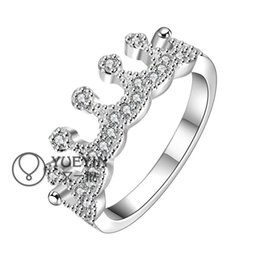 Wholesale Cheapest Plate Set - Cheapest 925 Silver Plated Rings Ladies Crown Rings Zircon Rings Graceful Wedding Rings Lovers Gift Rings R254