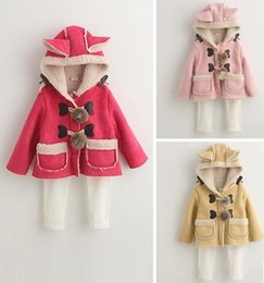 Wholesale Girls Winter Buckle Coat - Wholesale-2016 Girls Winter ball buckle lamb super adorable rabbit ears thickened nubuck leather coat 4265Y